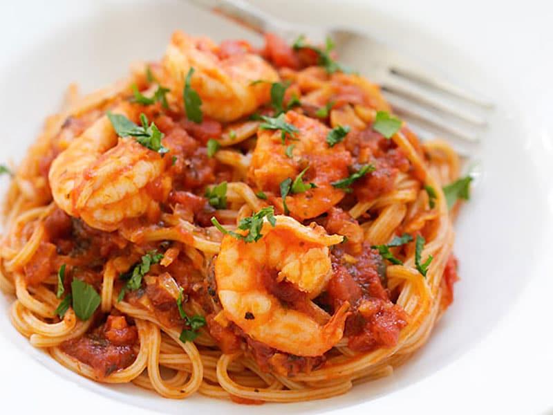 Spaghettis au Crevettes Epicées